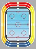 Campo y tribunas del hockey sobre hielo. Fotografía de archivo libre de regalías