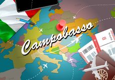 Campobasso city travel and tourism destination concept. Italy fl. Ag and Campobasso city on map. Italy travel concept map background. Tickets Planes and flights royalty free illustration