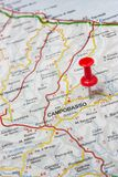 Campobasso pinned on a map of Italy. Road map of the city of Campobasso Italy Stock Images