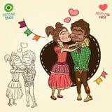 Camponeses novos no amor - estilo do partido de junho do brasileiro Imagens de Stock