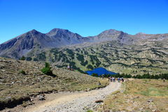 Camporells lake and Peric peak in Pyrenees. Capcir,Roussillon region of France Stock Image