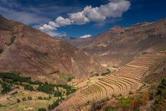 Campos colgantes en el área arqueológica del inca de Pisac en el valle sagrado cerca del Cusco imagen de archivo libre de regalías