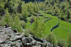 Campos colgantes en el valle de Madriu-Perafita-Claror, Andorra Fotografía de archivo libre de regalías