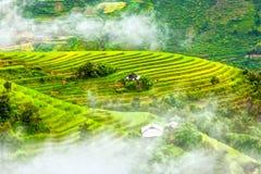 Campos colgantes en las nubes que asoman de las colinas Imágenes de archivo libres de regalías