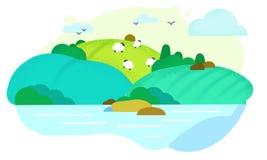 Campos con las ovejas imagen de archivo libre de regalías