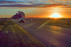 Campos da estrada e do pasto da paisagem do por do sol em Argentina fotografia de stock royalty free