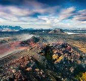 Campos de aguas tórridas en el volcán de Krafla Foto de archivo