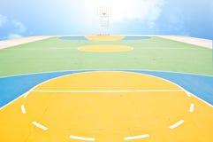 Campos de bola de la cesta con el cielo Imagenes de archivo