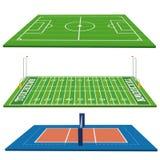 Campos de esportes ajustados isolados no fundo branco ilustração royalty free