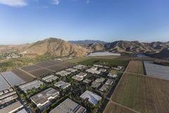 Campos de exploração agrícola de Camarillo Califórnia e antena do parque industrial fotos de stock royalty free