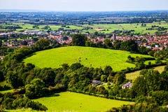 Campos de Glastonbury fotos de stock