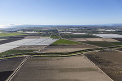 Campos de granja arados Camarillo aéreo California Foto de archivo libre de regalías