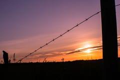 Campos de la puesta del sol Fotografía de archivo