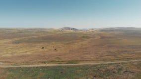 Campos de Sandy y estepas y montañas de la arcilla en Georgia metrajes