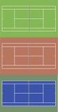 Campos de tênis ajustados Ilustração da vista superior Fotos de Stock Royalty Free