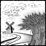 Campos de trigo blancos y negros libre illustration