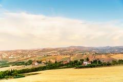 Campos de trigo na região de Emilia Romania, Itália Fotos de Stock