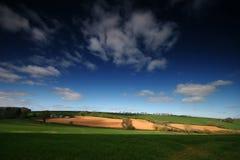 Campos del remiendo en Devon rural Foto de archivo libre de regalías