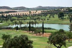 Campos do golfe com lago foto de stock