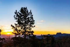 Campos do Jordao, Brazil. Pedra do Bau view at sunset. Golden hour Royalty Free Stock Images
