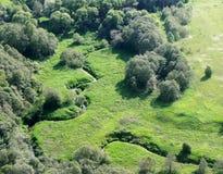 Campos e madeiras verdes, rio Imagens de Stock Royalty Free
