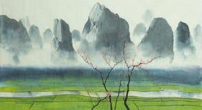Campos e montanhas do arroz ilustração stock