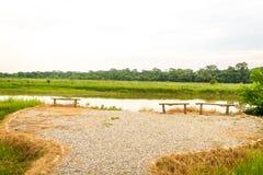 Campos e rio verdes Fotos de Stock Royalty Free