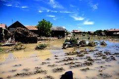 Campos inundados y casas Imagen de archivo libre de regalías