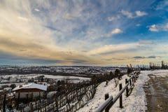 Campos italianos com neve Imagens de Stock