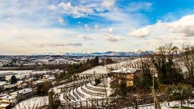 Campos italianos com neve Imagem de Stock