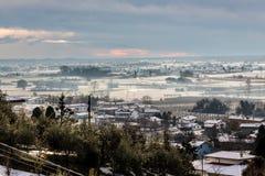 Campos italianos com neve Fotografia de Stock