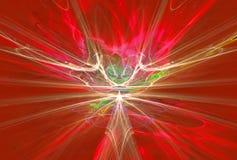 Campos magnéticos extranjeros misteriosos de la forma en el rojo Imagen de archivo