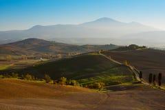 Campos ondulados en Toscana Foto de archivo