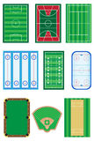 Campos para el ejemplo del vector de los juegos de los deportes Fotografía de archivo libre de regalías