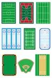 Campos para a ilustração do vetor dos jogos dos esportes Fotografia de Stock Royalty Free
