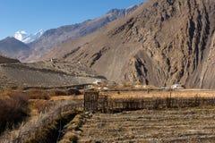 Campos rurales en el fondo de montañas, Nepal Imagen de archivo libre de regalías