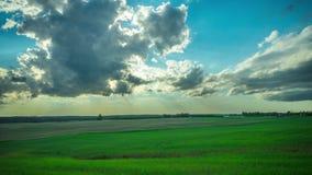 Campos, sol e nuvens verdes, tempo-lapso video estoque