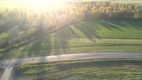 Campos vazios da vista aérea cruzados por estradas contra a luz solar filme