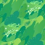 Campos verdes con el fuerte viento que sopla hacia fuera las hojas de los arbustos stock de ilustración
