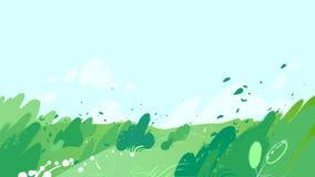 Campos verdes con el fuerte viento que sopla hacia fuera las hojas de los arbustos ilustración del vector
