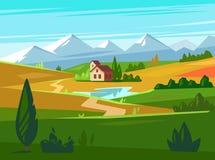 Campos verdes con las montañas enormes en la distancia y la casa libre illustration
