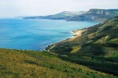 Campos y mar de Dorset Foto de archivo