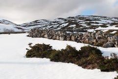 Campos y montañas cubiertos por de snow en invierno Imagen de archivo libre de regalías