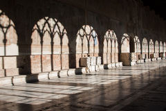 Camposanto in Pisa. Beautiful shadow from arches in Camposanto, Pisa, Italy Royalty Free Stock Photo