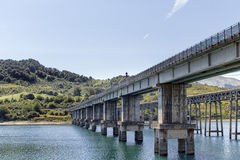 Campotosto Lake - Bridge. Bridge Campotosto Lake (Aquila) - Italy Stock Photo