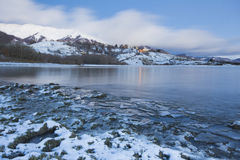 Campotosto lake with snow Stock Photos
