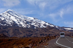 Campravan drive up Mount Ruapehu Stock Photo