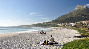 Camps Bay beach and Lions Head Mountain Stock Image