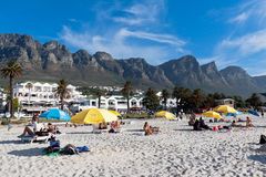 Camps Bay beach and Table Mountain Stock Image