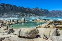 Camps bay beach and Twelve apostles in Cape town stock photos